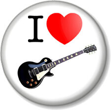 I Love / Heart GUITAR 25mm Pin Button Badge Musical Instrument Gibson Les Paul