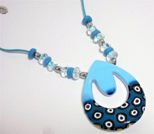 Collana Donna Egg Blu Antica Murrina  Vetro di Murano Made in Italia v377