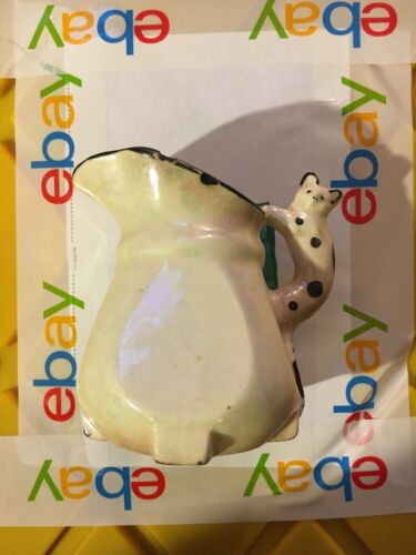Cat Handled Pitcher Iridescent White Black Accents Made in Czechoslovakia