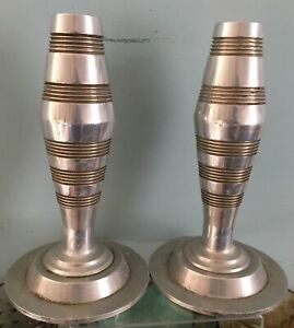 Vintage-Pair-Designer-Polished-Engine-Turned-Aluminium-Candlesticks-Art-Deco