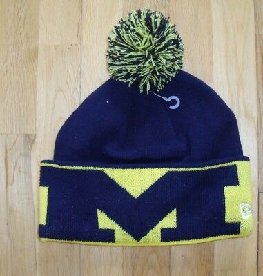 100% Vero New Era Men's Michigan Wolverines Football Beanie Bobble Hat Navy Blue Os New Prezzo Basso