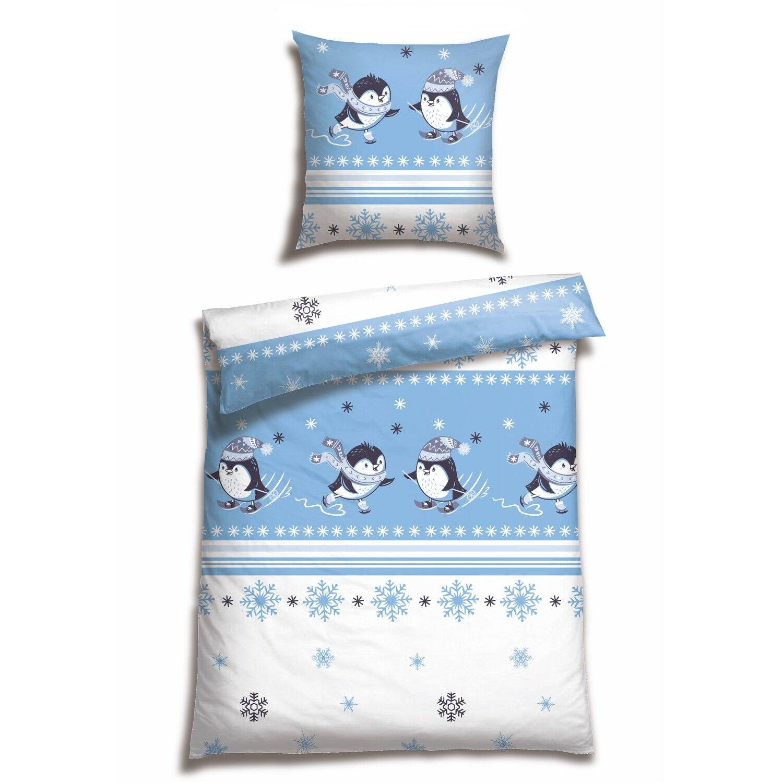 CASATEX Winter Bettwäsche Paulchen Eisblueeee Schnee Pinguine Schlittschuhe Biber