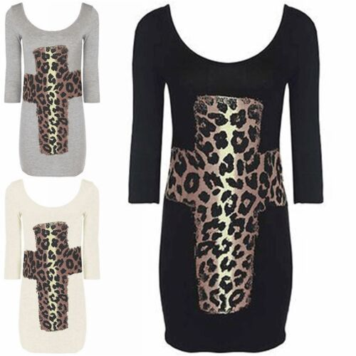 Womens Leopard Cross Print 3//4 Sleeves Scoop Neck Tunic Top Ladies Bodycon Dress