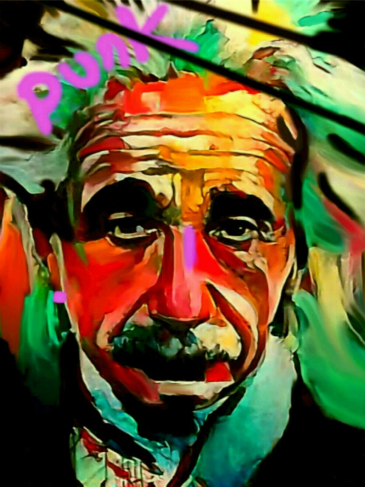 Albert Einstein Punk 120 x90 cm Silber Aluminium PopArt Malerei Bild Street Art