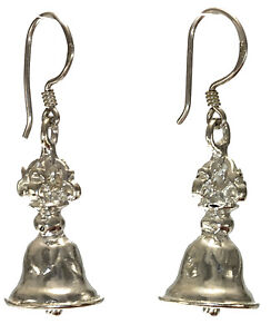 Vintage-Style-Bell-shaped-earrings-jewelry-genuine-925-sterling-silver-Artisan