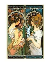 Art print on SILK - Mucha - Primrose and Feather - 2 lovely ladies - fiber arts