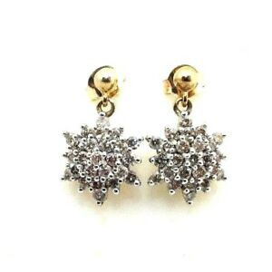 Ladies-womens-9ct-9carat-yellow-gold-stud-earrings-with-50ct-diamond-cluster