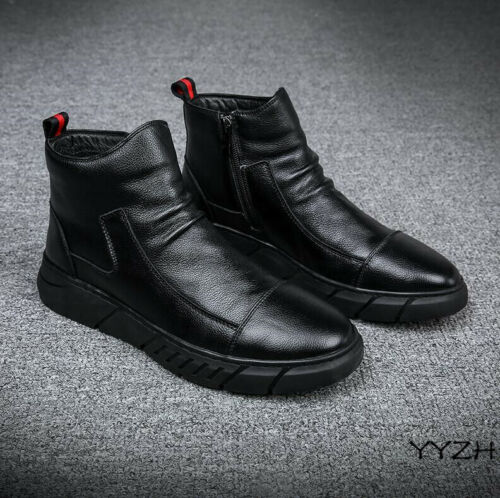 MENS HIGH TOP ANKLE BOOTS WINTER WARM SNOWBOOTS PU LEATHER CHUKKA ZIP BLACK BOOT