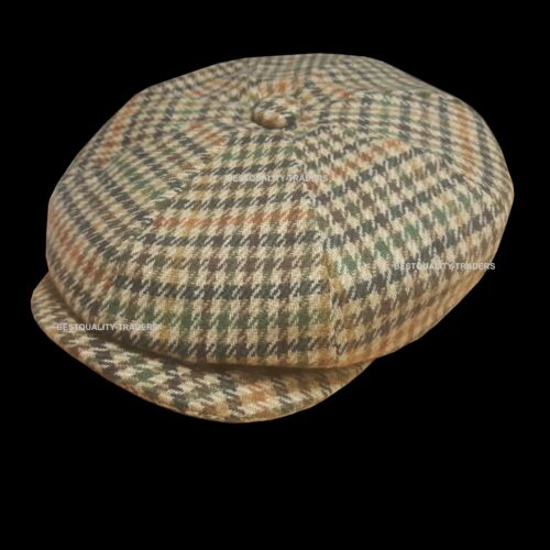 Peaky Blinders Hat Newsboy Flat Cap Herringbone Tweed Wool Baker Boy Gatsby
