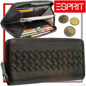 ESPRIT-Damen-Geldboerse-Reissverschluss-Geldbeutel-Portemonnaie-Braun-Brieftasche