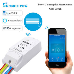 Details about SonOff Pow Wireless WiFi Switch ON/Off 16A Power Consumption  alexa nest google