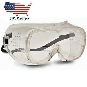 Safety Goggles Eye Face Protection Direct Vent Fit-over Clear Glasses