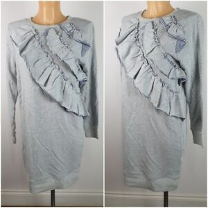 New-Ex-TU-Ladies-Grey-Long-Sleeve-Knitted-Tunic-Sweat-Dress-Size-8-22-RRP-28