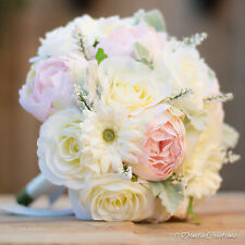 Wedding Flowers in Silk Roses & Peonies, Light Pink & Ivory Bridal Posy Bouquet