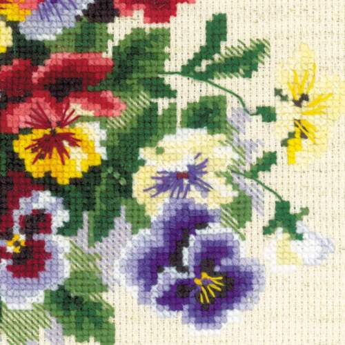 "/""Pansy Medley/"" Counted Cross Stitch Kit RIOLIS 1516"