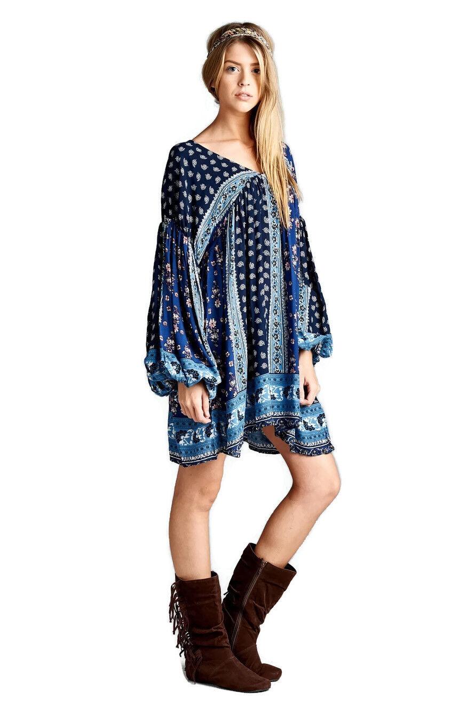 Velzera bluee Patch Print Babydoll Tunic Mini Dress NWT  Large
