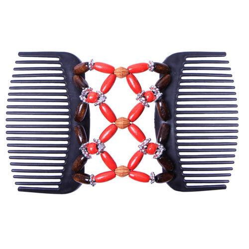 Retro Style Double Beaded Hair Magic Comb Clip Women Elastic Hair Combs Pins