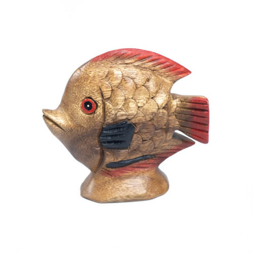 """Wooden Fish 4"""" Hand Carved Ornament Home Decor."""
