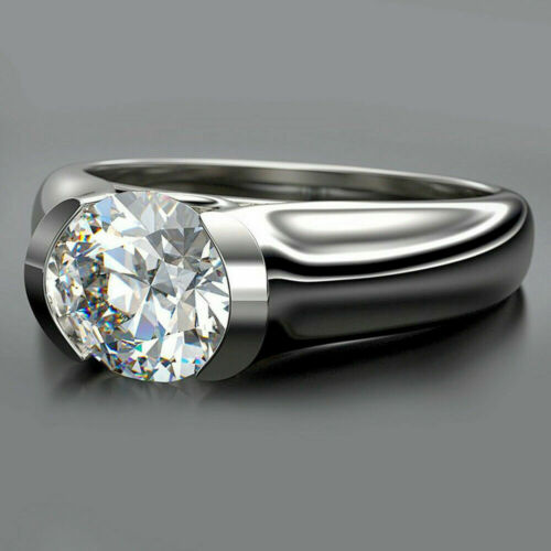 2.00 Ct Round Cut White Moissanite Solitaire Engagement Ring In 14k White Gold