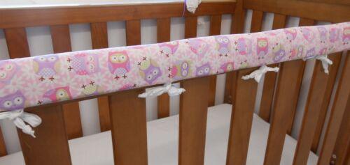 x 1 Cot Rail Cover Owls Pink Purple Crib Teething Pad