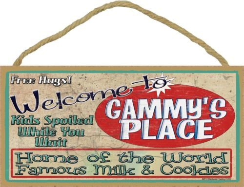 """Welcome Gammy/'s Place Home World Famous Milk and Cookies Grandmother Sign 5/""""x10/"""""""