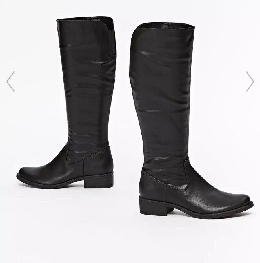 Ladies Wallis Black Leather Knee High Boots Size EU 37