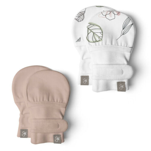 2 Pairs Goumikids No Scratch Baby Infant Mittens Open Box 0-3M Abstract//Rose