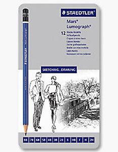 Staedtler Lumograph Draw Pencil Tin 12 Soft Grades