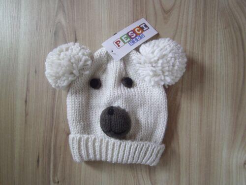 2-4 Years Boys Hat Pom Pom Dog Face Winter Knitted Cap Ears Girls Toddler 1-2