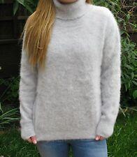"NEW Grey Polo Neck Sweater Jumper>Soft Fluffy Angora>M>39"">Luxurious>£44.99"