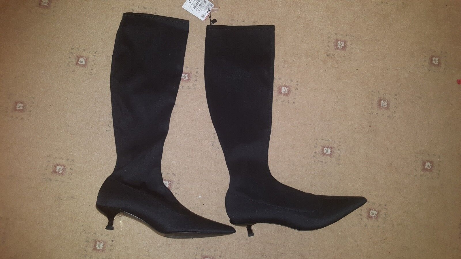 BNWT ZARA ZARA BNWT BLACK ELASTIC HIGH HEEL Stiefel Schuhe SIZE 5 38 2a3b47