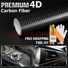 "*24""x60"" 4D Black Premium Gloss Carbon Fiber Vinyl Wrap Sticker Decal BubbleFree"