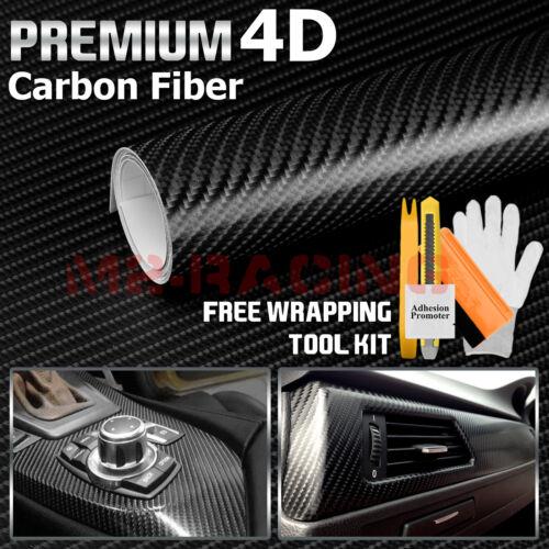"*24/""x60/"" 4D Black Premium Gloss Carbon Fiber Vinyl Wrap Sticker Decal BubbleFree"