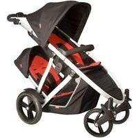 Phil & Teds Verve Pushchair Black/red + Double Kit + Raincover