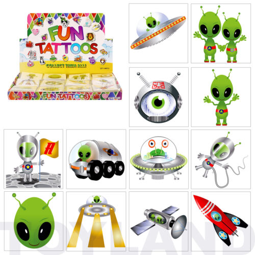 24 x SPACE ALIEN TEMPORARY TATTOOS BOYS FUN GOODY BIRTHDAY PARTY BAG FILLERS