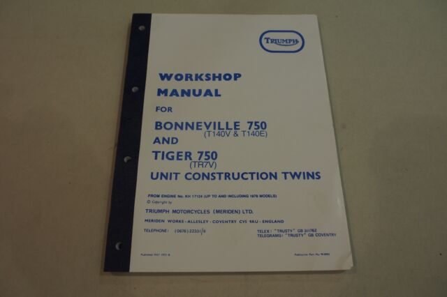 Triumph T140e Bonneville Tr7v Tiger 750 Workshop Manual 1973 1978 For Sale Online Ebay