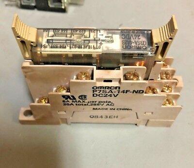 With Matching Omron P7SA-14F-ND Base Omron G7SA-5A1B Cube Relay 24 VDC