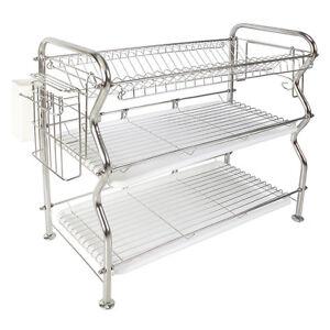 nex 3 tier stainless steel dish rack over the sink kitchen dish drainerrack 304 ebay. Black Bedroom Furniture Sets. Home Design Ideas