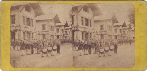 France Switzerland Fanfare Firefighters Alpes ? Stereo Stereoview Vintage
