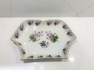Gloria-Bavaria-Bayreuth-Vintage-Fine-Porcelain-serving-plate-tray-violet-flowers