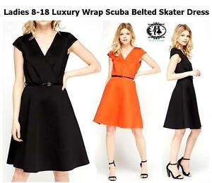 336a50c5db40 LADIES SIZE 8-18 WARP SCUBA SMART PADDED BLACK SKATER DRESS + BELT ...
