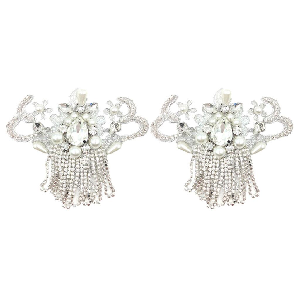 2pcs Elegant Rhinestone Pearls Shoe Clips Shoe Charm for Wedding Decoration