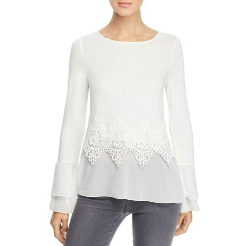 Design History Womens Lace Trim Bell Sleeve Blouse Pullover Top Shirt BHFO 7863