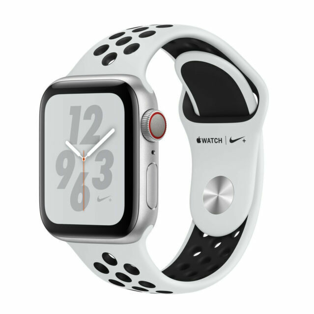 Apple Watch Series 4 Nike 44 Mm Silver Aluminum Case With Pure Platinum Black Nike Sport Band Gps Cellular Mtxc2ll A For Sale Online Ebay