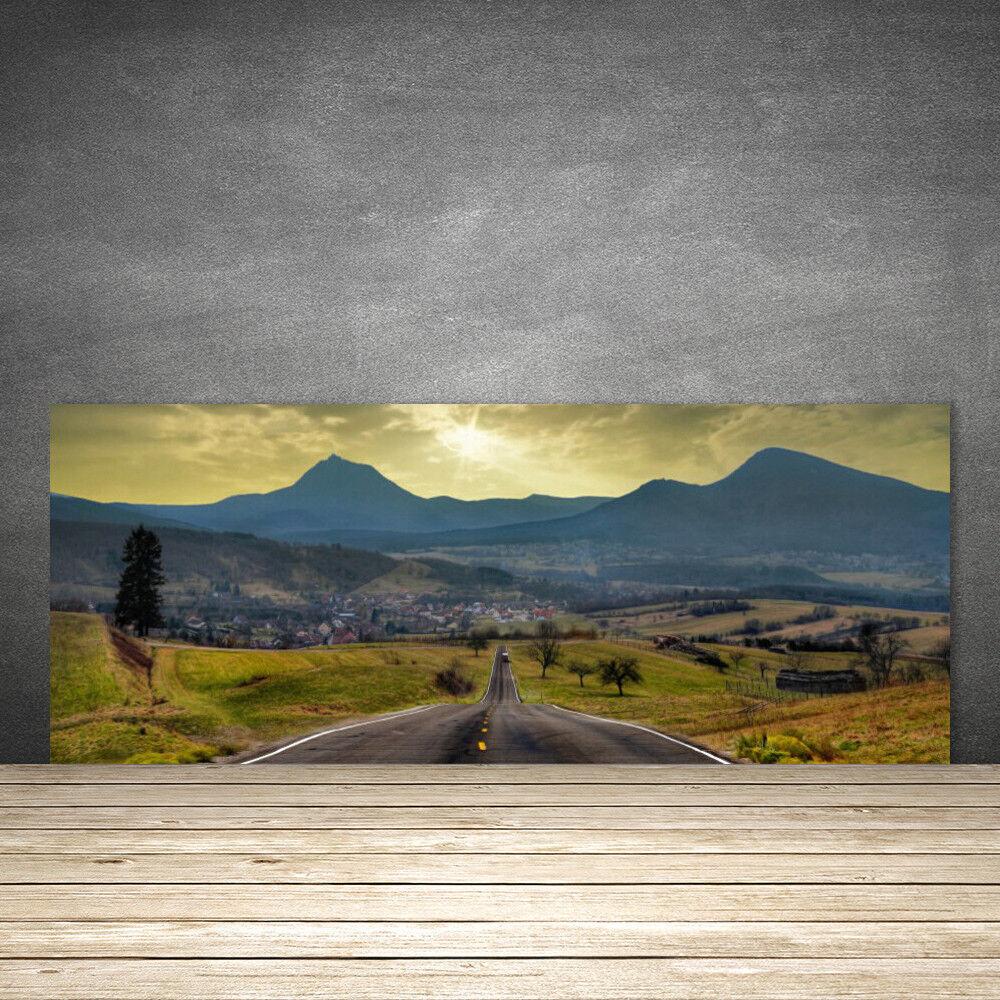 Crédence de cuisine en verre Panneau 125x50 Paysage Route Montagnes