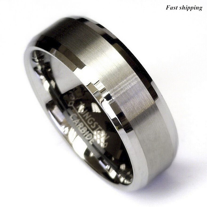 Titanium Color Two Tone Tungsten Carbide Wedding Band Men S Ring