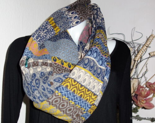 IVKO Schal Loop Lammwolle James Dean scarf Pattern braun marine grau 52537