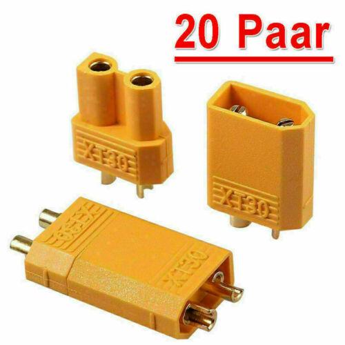 10//20//30 Paar Nylon XT30 Hochstrom Stecker Goldstecker mit Buchse vergoldet