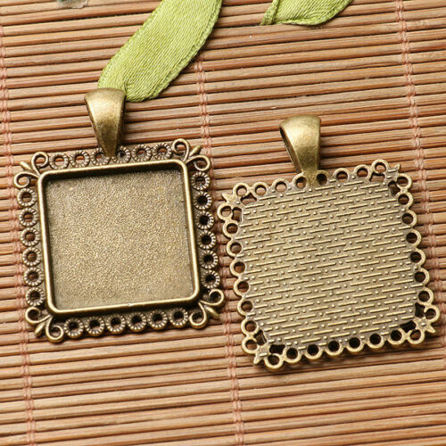 2pcs antiqued bronze color rim squared cabochon setting in 20x20mm EF3021
