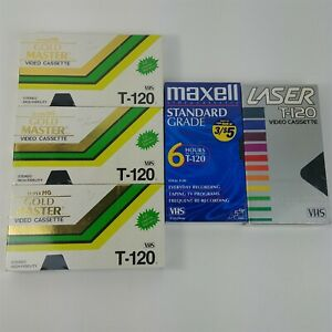 T-120-Blank-VHS-Tape-Lot-Of-5-Sealed-NOS-1-Laser-1-Maxwell-3-Gold-Master